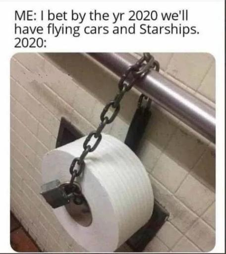 i bet by 2020 we will have flying cars and sharships actual toilet paper chained jpg