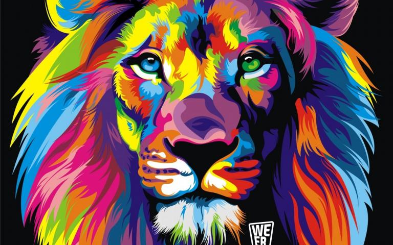 lion colorful abstract 117370 jpg