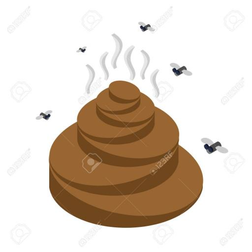 59774914 turd isometrics flies and shit offensive feces on white background Stock Photo jpg