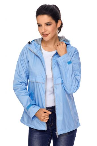 Light Blue Women Zipper Lapel Suit Blazer with Foldable Sleeve LC85068 4 1 jpg
