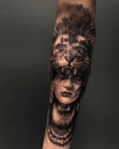 10  Lion Headdress Tattoo Designs png
