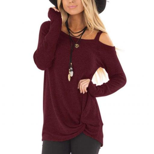 Long Sleeve T Shirt Wine Red 1 jpg