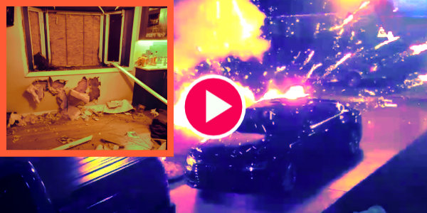 Watch man throw bomb at Trump supporter's house in the middle of the night in Michigan…