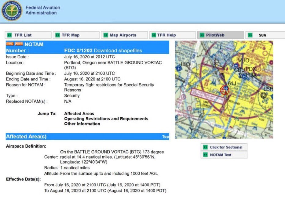 The Feds have closed down the airspace over downtown Portland, Oregon for Special Security Reasons…